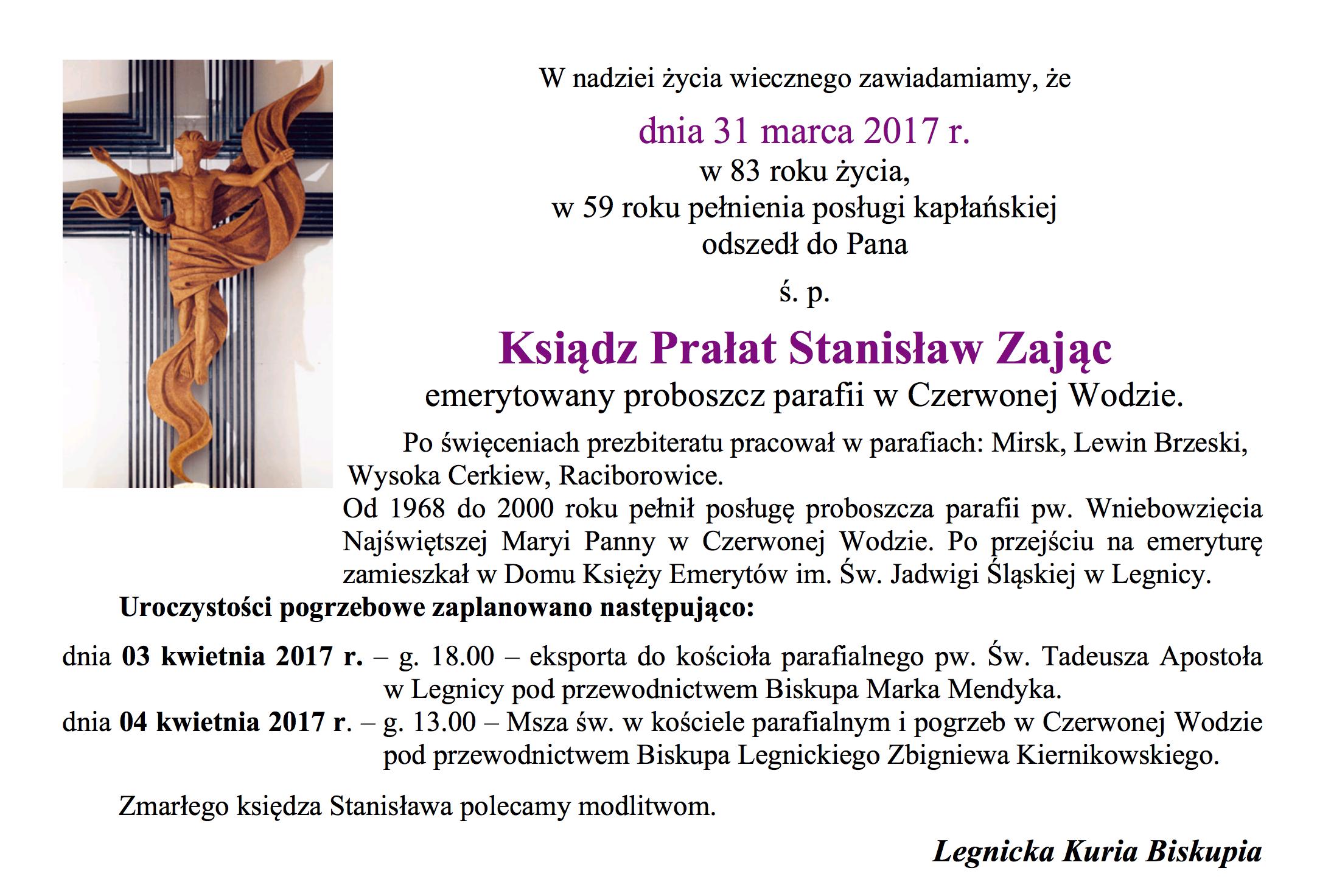Zmarł Ksiądz Prałat Stanisław Zając